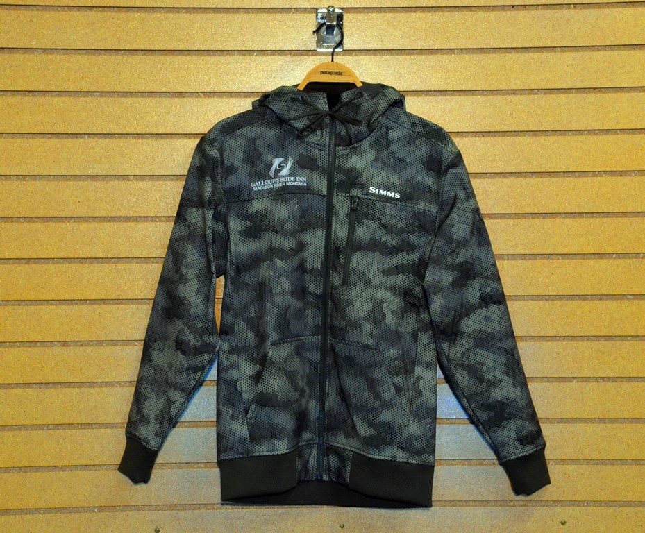 simms rogue fleece with slide inn logo hex camo loden