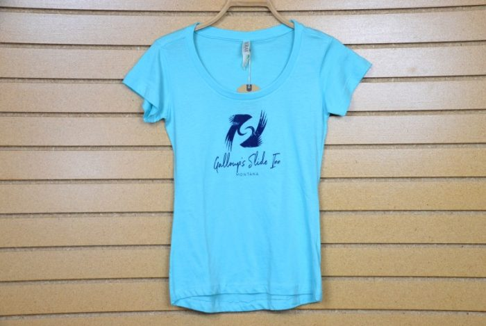 poly cotton blend scoop neck tee neck with slide inn logo teal